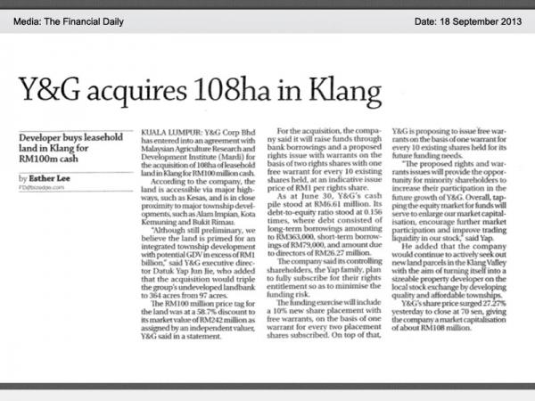 Y&G acquires 108ha in Klang