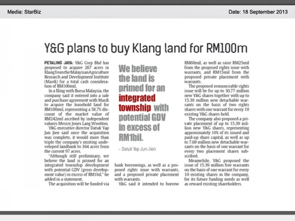 Y&G plans to buy Klang land for RM100m
